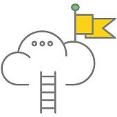Cloud technology for online business process managing vector icon