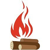 Fire flame hot bonfire icon vector isolated on white