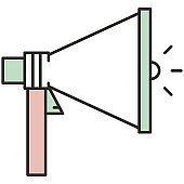 Megaphone loudspeaker flat vector icon for announcement