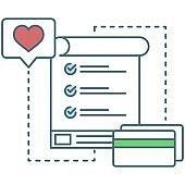 Shopping wish list icon flat vector design