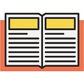 Open book icon flat vector library symbol