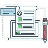 Blogging icon digital blog account flat vector design