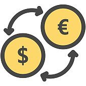 Money dollar and euro currency exchange vector icon