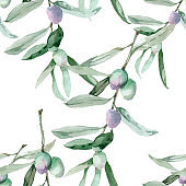 Watercolor olive branches seamless pattern.