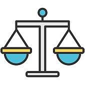 Libra balance and equilibrium flat vector icon