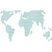 Dotted world map vector icon silhouette on white