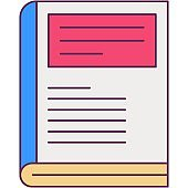Closed book icon vector line library symbol