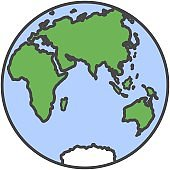 Earth globe planet with continent and water flat vector icon