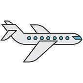 Airplane icon vector airways transportation logo. Flight symbol.