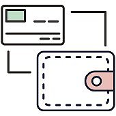 Credit card and cash payment flat vector icon