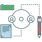 B2B or b2c business profit partnership flat vector icon