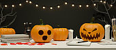 Halloween party concept workspace decorated with pumpkin lamps, candle and light, 3D rendering