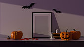Halloween party decorations with mock-up frame and pumpkin lamps in living room, 3D rendering