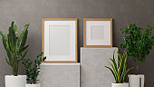 3D render, home decorations with mock up frames on marble podium and houseplants pots in loft wall background
