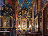 Baroque altar with Crucifix of Veit Stoss in St. Mary's Basilica in Krakow, Poland