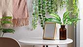 Biophilia leisure corner with mock up frame, coffee table and houseplants