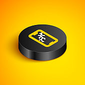Isometric line Smartphone with broken screen icon isolated on yellow background. Shattered phone screen icon. Black circle button. Vector