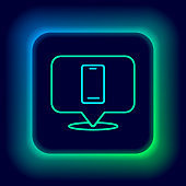 Glowing neon line Phone repair service icon isolated on black background. Adjusting, service, setting, maintenance, repair, fixing. Colorful outline concept. Vector