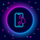 Glowing neon line Waterproof mobile phone icon isolated on black background. Smartphone with drop of water. Colorful outline concept. Vector