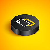 Isometric line Smartphone, mobile phone icon isolated on yellow background. Black circle button. Vector