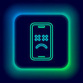 Glowing neon line Dead mobile icon isolated on black background. Deceased digital device emoji symbol. Corpse smartphone showing facial emotion. Colorful outline concept. Vector