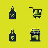 Set Discount percent tag, Market store, Price with dollar and Shopping cart icon. Vector
