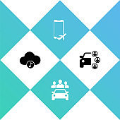 Set Music streaming service, Car sharing, Flight mode the mobile and icon. Vector