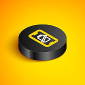 Isometric line Smartphone battery charge icon isolated on yellow background. Phone with a low battery charge. Black circle button. Vector
