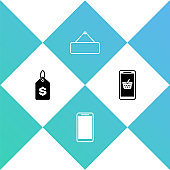 Set Price tag with dollar, Smartphone, mobile phone, Signboard hanging and Mobile and shopping basket icon. Vector