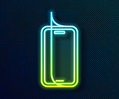 Glowing neon line Glass screen protector for smartphone icon isolated on black background. Protective film for glass. Transparent soft glass for mobile phone. Vector