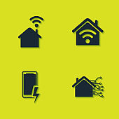 Set Smart home with wi-fi, , Mobile charging battery and icon. Vector