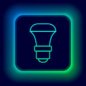 Glowing neon line LED light bulb icon isolated on black background. Economical LED illuminated lightbulb. Save energy lamp. Colorful outline concept. Vector