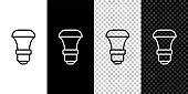 Set line LED light bulb icon isolated on black and white,transparent background. Economical LED illuminated lightbulb. Save energy lamp. Vector