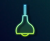 Glowing neon line Lamp hanging icon isolated on black background. Ceiling lamp light bulb. Vector