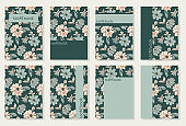 Vector templates for cover pages. Universal abstract floral cover layout. Suitable for notebooks, books, diaries, catalogs, etc