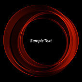 Wavy frame red-bright wave on a black abstract background. Design element. Brochure Template