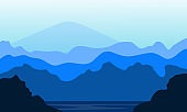 Beauty vector nature scenery with tree and mountain. City vector