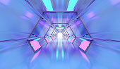 Futuristic Tunnel with Neon Lights