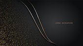 Abstract golden glitter halftone and line curve illustration on dark background