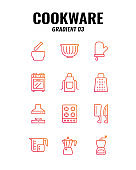 Cookware icon set on white background. Gradient icons set3. Vector illustration.