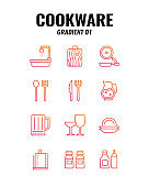 Cookware icon set on white background. Gradient icons set1. Vector illustration.
