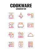 Cookware icon set on white background. Gradient icons set4. Vector illustration.