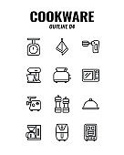 Cookware icon set on white background. outline icons set4. Vector illustration.