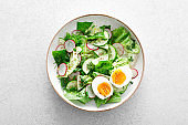 Salad with radish, cucumber, romaine lettuce, greens and boiled egg. Breakfast. Healthy and detox food concept.
