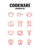 Cookware icon set on white background. Gradient icons set2. Vector illustration.