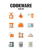 Cookware icon set on white background. Flat icons set4. Vector illustration.