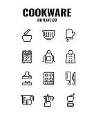Cookware icon set on white background. outline icons set3. Vector illustration.
