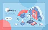 Cloud Security, Data Protecting. Secure backup exchange and encryption. Safe hosting service, authorization, identification. Isometric vector illustration for poster, presentation, banner, website.