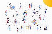 Isometric vector background people. Crowd