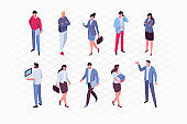 Isomeric business people vector set.